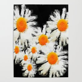 high contrast daisies pastel drawing Poster