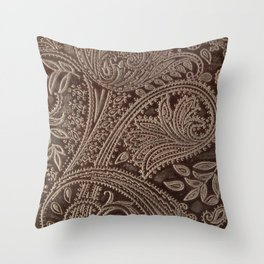 Cocoa Brown Tooled Leather Throw Pillow