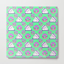 Cute sweet adorable Kawaii fitness bunnies exercising on a yoga mat, yummy happy funny pink donuts with sprinkles light pastel teal green pattern design Metal Print