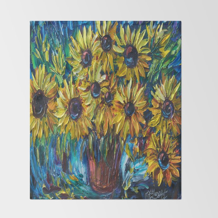 Sunflowers In A Vase Palette Knife Painting Throw Blanket By