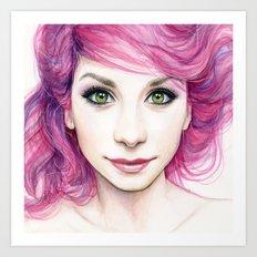 Pink Hair Girl Art Print