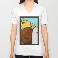 lichtenstein V-neck T-shirts featuring Go get 'em, kid by Danny Haas