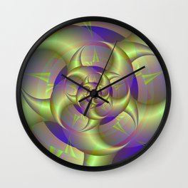 Spiral Pincers in Blue and Green Wall Clock
