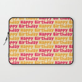 Happy Birthday in Pink & Yellow Laptop Sleeve