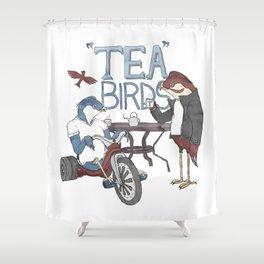 Tea Birds Shower Curtain