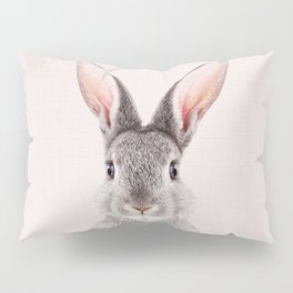 Bunny With Pink Background, Baby Animals Art Print By Synplus Pillow Sham