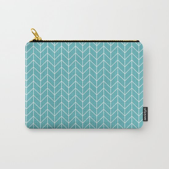 Nautical Navy Herringbone Pattern- White on Aqua on #Society6 Carry-All Pouch