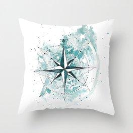 Compass Sketch Throw Pillow