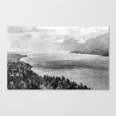 Forest River Water - Columbia River Gorge Cape Horn Black and White Photograph Canvas Print