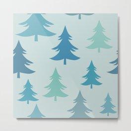 Winter Fir Trees, Firs Winter Pattern Metal Print