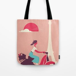 French girl on a Scooter Tote Bag