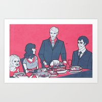 pushing daisies Art Prints featuring Pushing Daisies + Hannibal: Dinner Party by Mandy Quesadilla