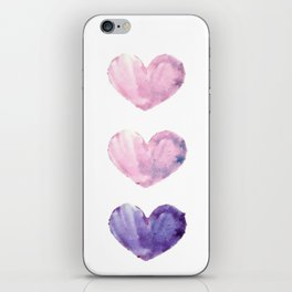 Watercolour Hearts iPhone Skin
