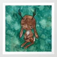 jackalope Art Prints featuring Jackalope by FawnLorn
