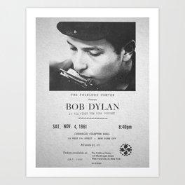 Bob Dylan Poster, 1961, First NY Concert Art Print
