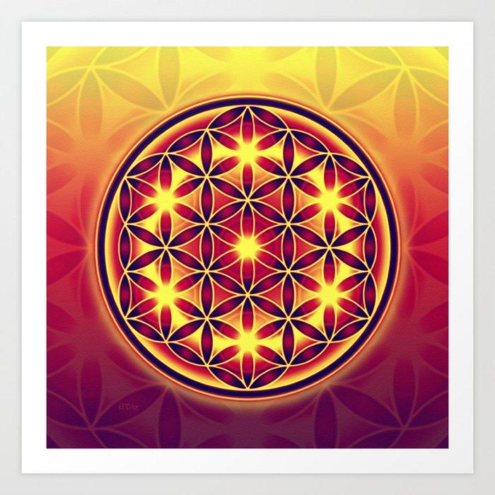 FLOWER OF LIFE batik style yellow red Art Print