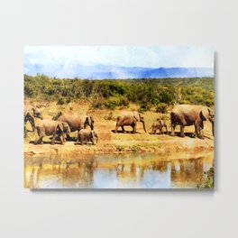 Herd Of Elephants Metal Print