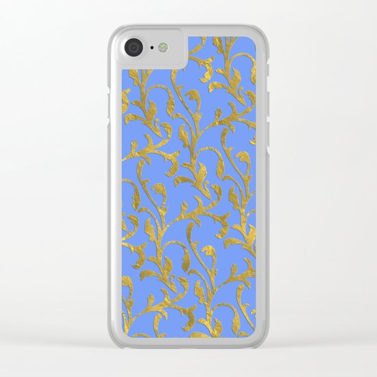 Queenlike on blue  I- gold ornament on blue backround- elegant pattern Clear iPhone Case