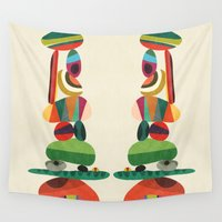 totem Wall Tapestries featuring Totem - balanced pebbles by Picomodi