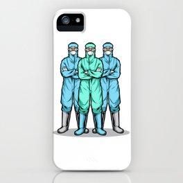 Men Wearing Hazmat Suit iPhone Case
