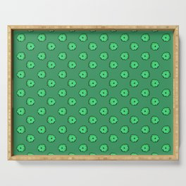 Green flowers on green Serving Tray