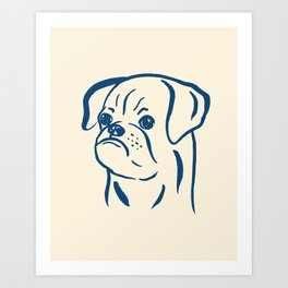 Petit Brabancon (Beige and Blue) Art Print