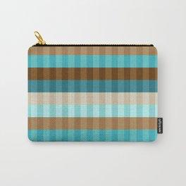 Mid Century Modern Stripe Pattern // Caribbean Blue, Ocean Blue, Dark Brown, Coffee Brown, Khaki Carry-All Pouch