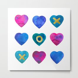 Tic Tac Toe hearts Metal Print