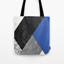 Black and White Marbles and Pantone Lapis Blue Color Tote Bag