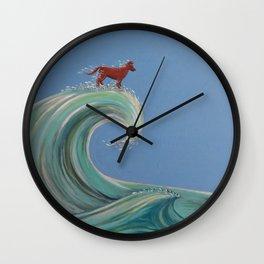 Surfing Kelpie Wall Clock