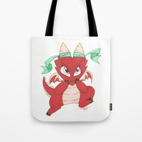 magic the gathering Tote Bags featuring Chibi Red Dragon Magic the Gathering Token by Deadlance