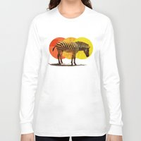 card Long Sleeve T-shirts featuring Zebra Card by Joshie