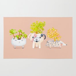 Kawaii dog cat hedgehog succulents Rug