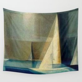 Sailing Yachts in Ocean Blue by Lyonel Feininger Wall Tapestry