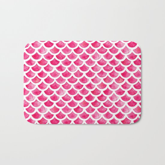 Pink Mermaid Scales Bath Mat
