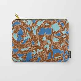 Blue and brown geometric abstract Carry-All Pouch