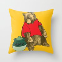 pooh Throw Pillows featuring Pooh! by Pieterjan Arends