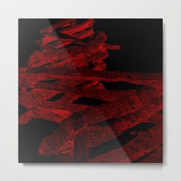 split rail fence, red on black Metal Print