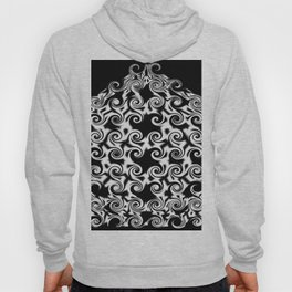 Curlicues Pentagon Black and White Pattern Hoody