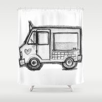 truck Shower Curtains featuring Icecream Truck by Meredith Nolan