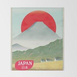 Japan mountain vintage style travel poster Throw Blanket