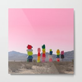 Seven Magic Mountains with Pink Sky - Las Vegas Metal Print