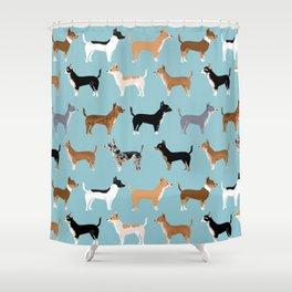 Chihuahua love kids fur baby pet friendly pet portraits dog breed art print pillow decor dog person  Shower Curtain