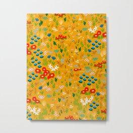 Floral x Yellow Metal Print