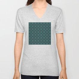 Elegant Aqua Moroccan Geometric Design Unisex V-Neck