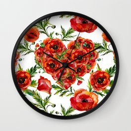 Poppy Heart pattern Wall Clock