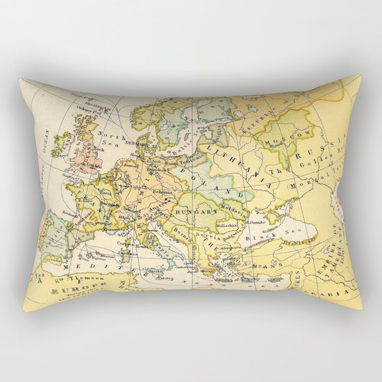 Europe During The 14th Century - Vintage Map Rectangular Pillow