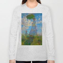 Claude Monet Impressionist Landscape Oil Painting Claude Monet - Woman with a Parasol - Madame Monet Long Sleeve T-shirt