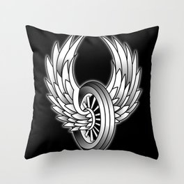 Winged Motorcycle Wheel Throw Pillow