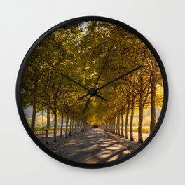 Napa Valley Tree Lined Path, Fall Colors, Autumn, Sunshine, California Photography, Thanksgiving Art Wall Clock